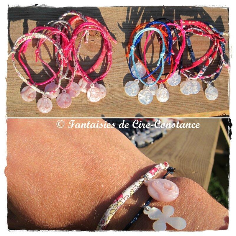 Bracelets Vierge à l'enfant 15 mm blanc ou rose