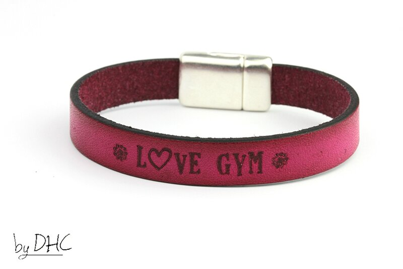 bracelet gym cuir rose