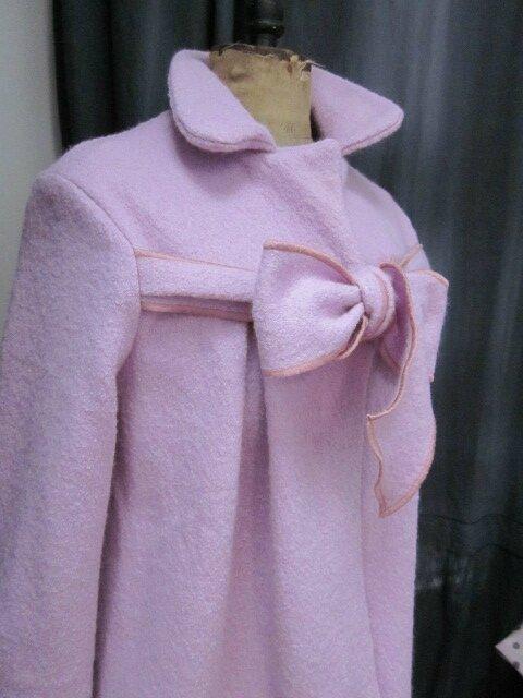 Manteau AGLAE court en laine bouillie rose-parme (4)