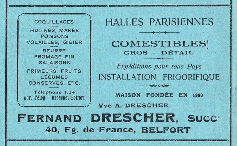 Publicité Comestibles Aux Halles Parisiennes BF