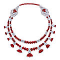 Art deco ruby and diamond necklace, cartier