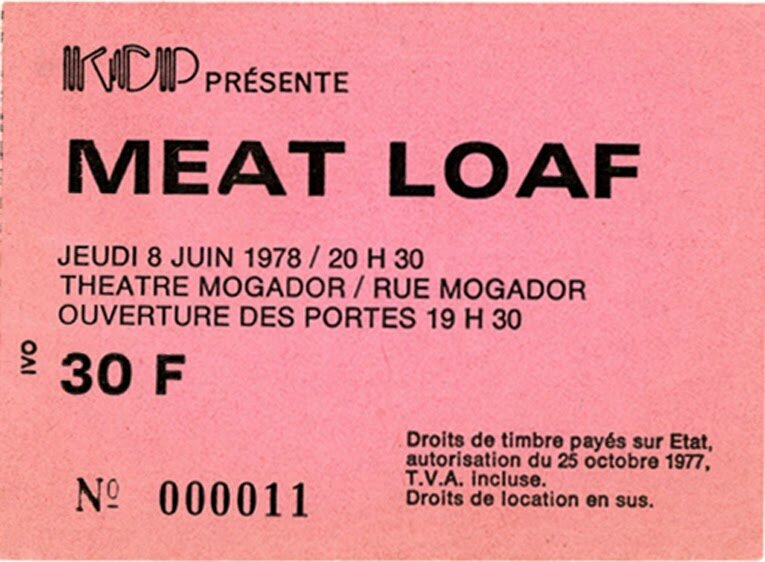 1978 06 Meat Loaf Mogador Billet