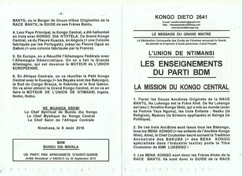 LA MISSION DU KONGO CENTRAL a