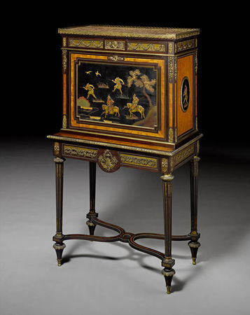 A_French_mid_19th_century_ormolu_mounted_amaranth__fruitwood_and_Japanese_lacquer_secr_taire___abattant1