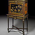 A french mid-19th century ormolu mounted amaranth, fruitwood and japanese lacquer secrétaire à abattant