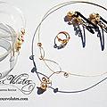 Création parure de bijoux dorée or fin originale et fine