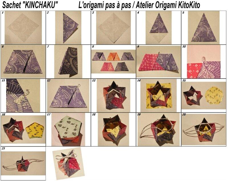 Atelier Origami KitoKito Diagramme Sachet KINCHAKU