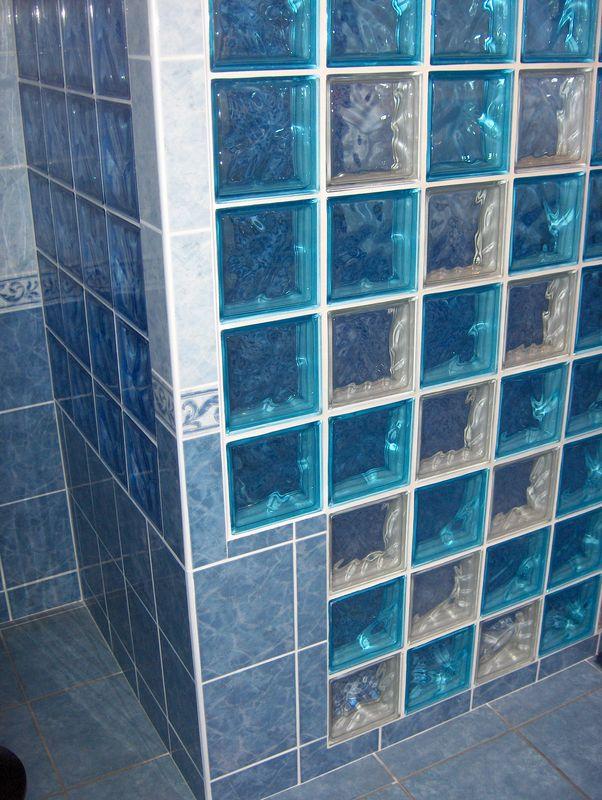 douche mosaïque et pavés de verre 6 - Photo de salles de ...