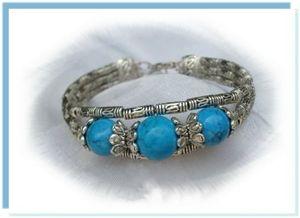 RoseBracelet Ethnique Trianon Perles Turquoise 14 et 12 mm Argent du Tibet