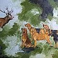 cerf miraculeux ou la légende de Saint-Hubert huile sur toile 40x50
