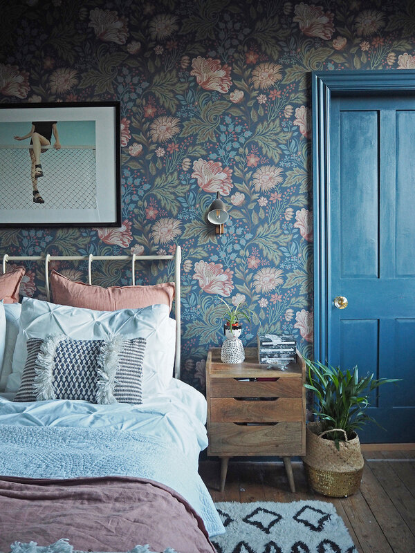 12-Wallpapered-Master-Bedroom-in-the-Baker-Familys-Colorful-Victorian-DesignSponge