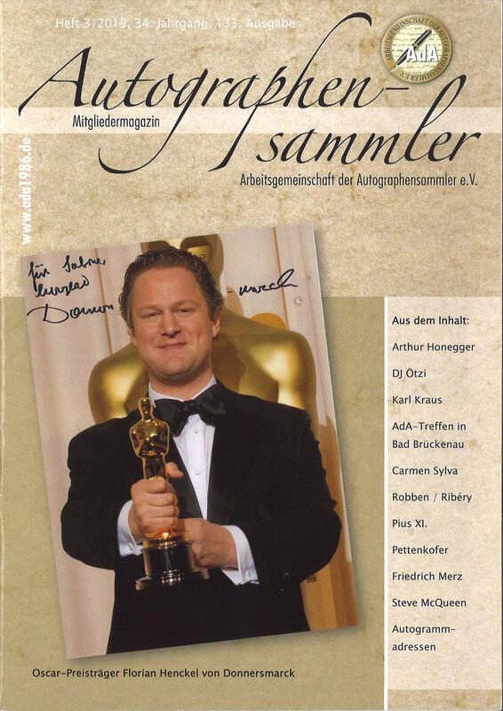Magazine allemand, Autographen sammler (Collectionneur d'Autographes), article sur S