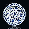 An iznik blue and white pottery dish, ottoman turkey, circa 1560