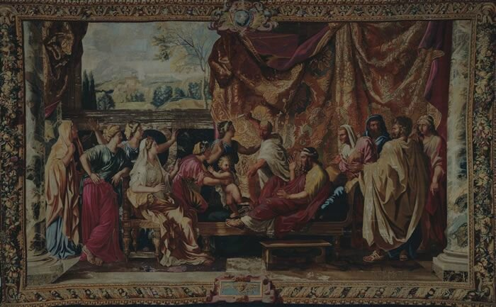 Manufacture des Gobelins, Child Moses trampling the crown of the pharaoh, 1683, tapestry