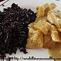 Poulet au curry, lait de coco, ananas et mangue