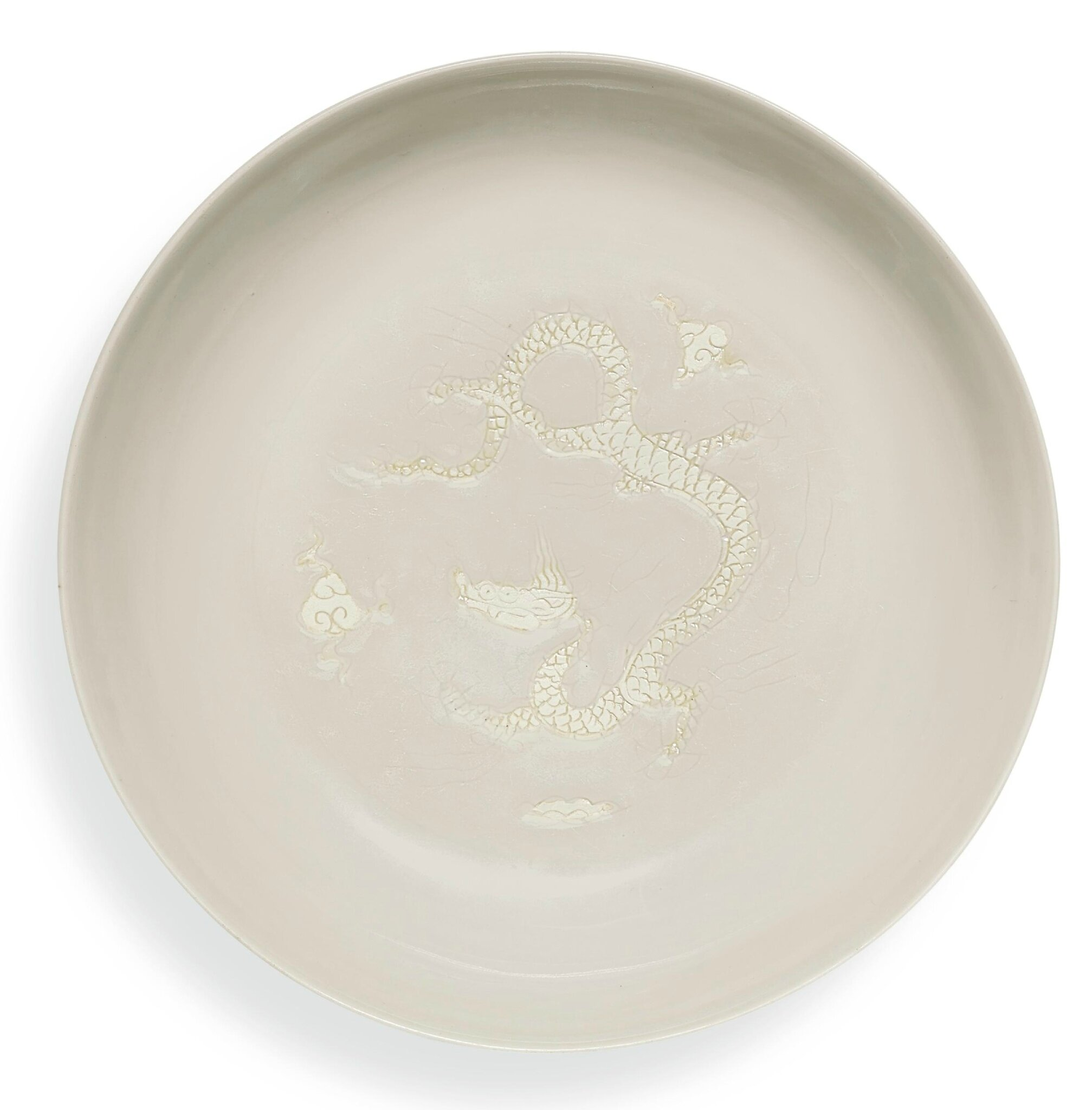 A fine biscuit-decorated 'dragon' dish, Mark and period of Hongzhi (1488-1505)
