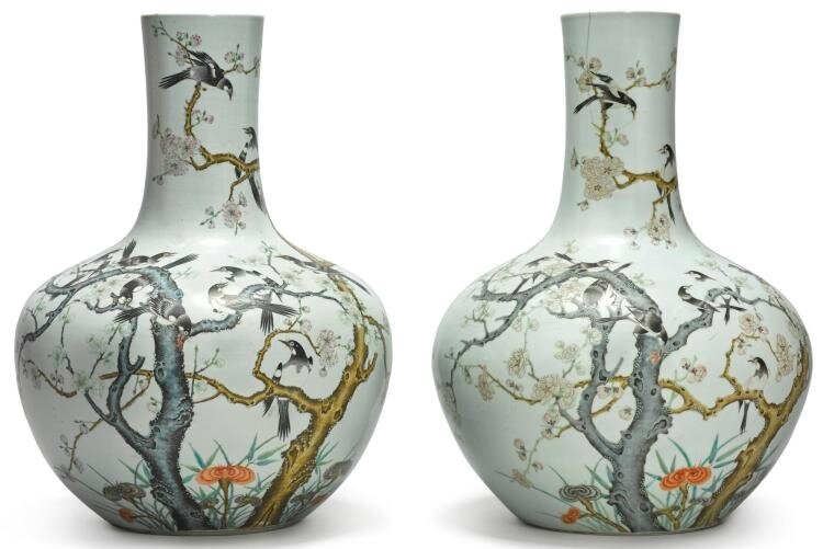 Two Famille-Rose 'Magpie and Prunus' Vases, 20th Century