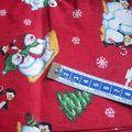 noel bonhomme de neige fond rouge , 30 X 65 ,3€00