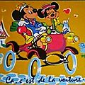 Disney Mickey et Minnie en velours (datée 1971)