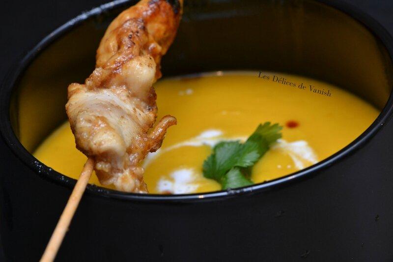 brochette poulet caramélisé, velouté coco, plat d'hiver, cooking, i cook'in
