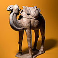 A Painted Pottery Figure of a Camel, Tang dynasty (618-907)