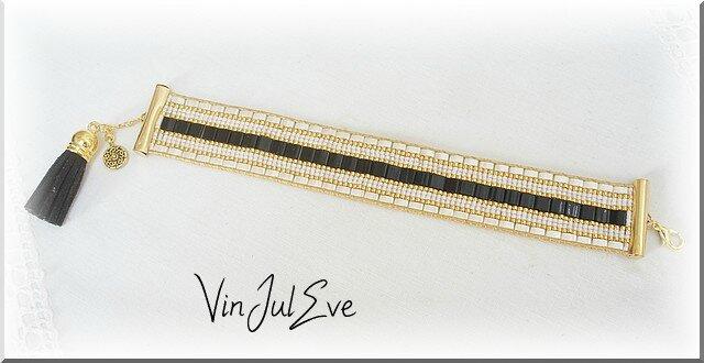 bracelet Loom Tilas noir beige or 2