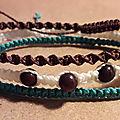 Lot de 3 bracelets en macramé et perles de moukaïte