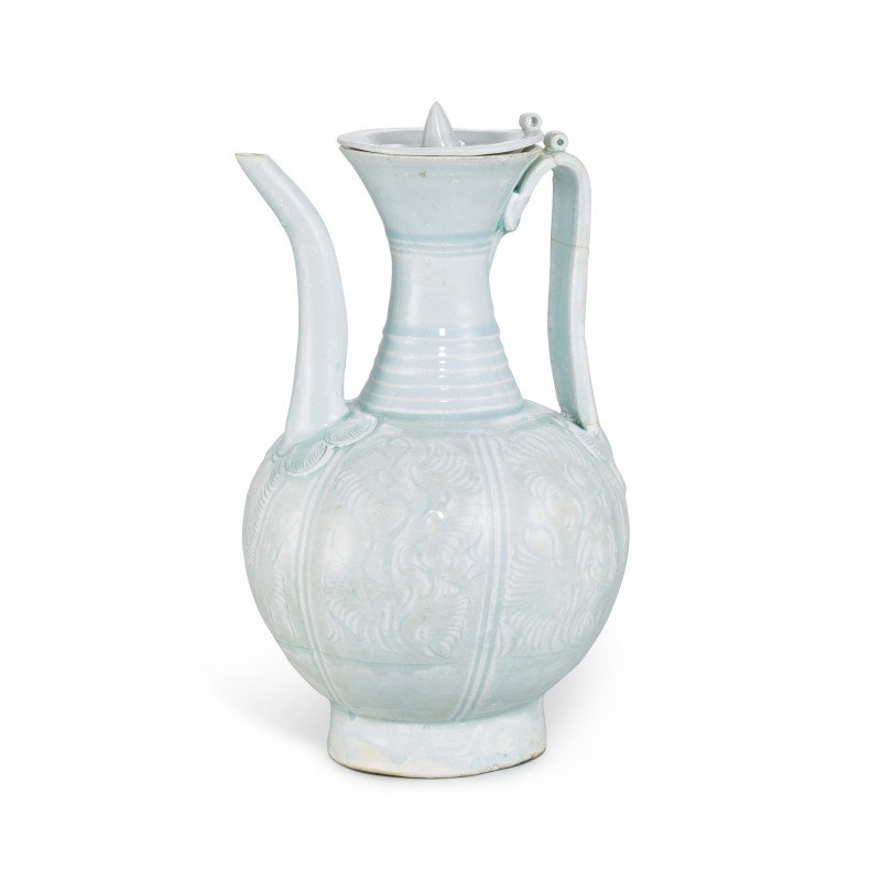 A carved Qingbai 'floral' wine ewer, Southern Song dynasty (1127-1279)