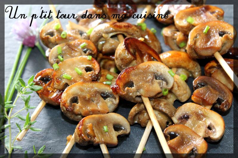 Brochettes champignons miel1