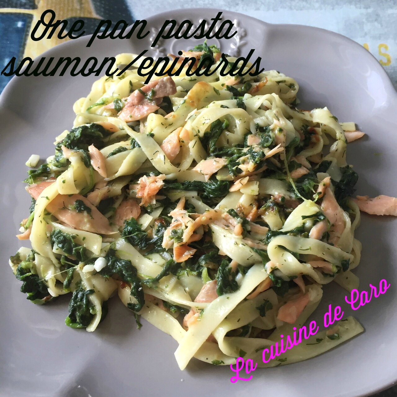 One pan pasta saumon/épinards