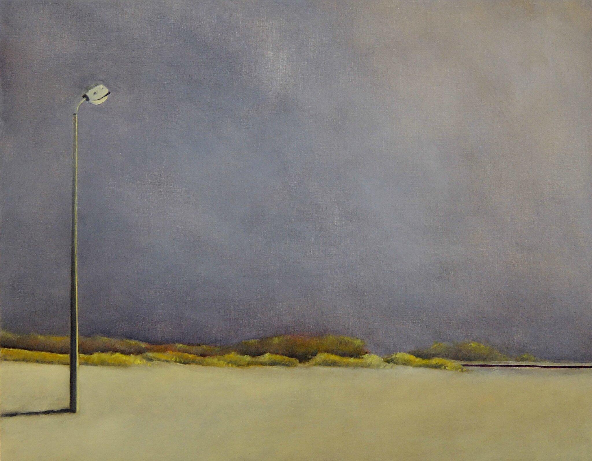 K'nowhere #29, (Reverbere et voie ferrée dans la brume et le sable), mai 2014, huile sur toile, 97 x 73 cm.