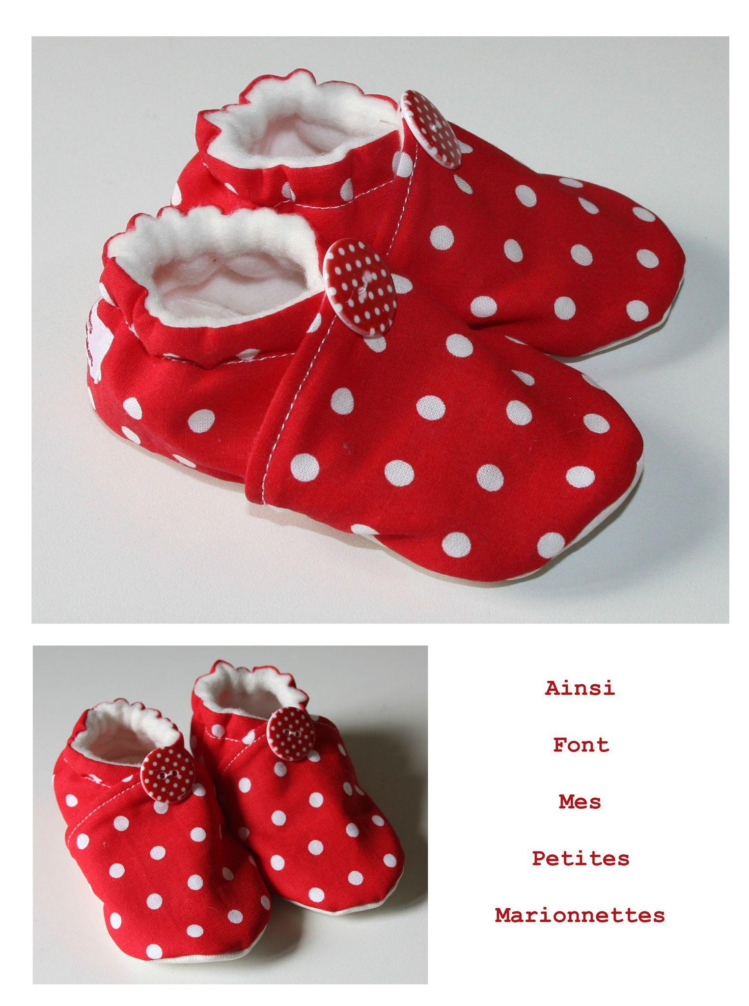 chaussons à pois rouge