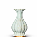 A very rare Longquan Guan-type lobed pear-shaped vase, Southern Song dynasty (1127-1279)