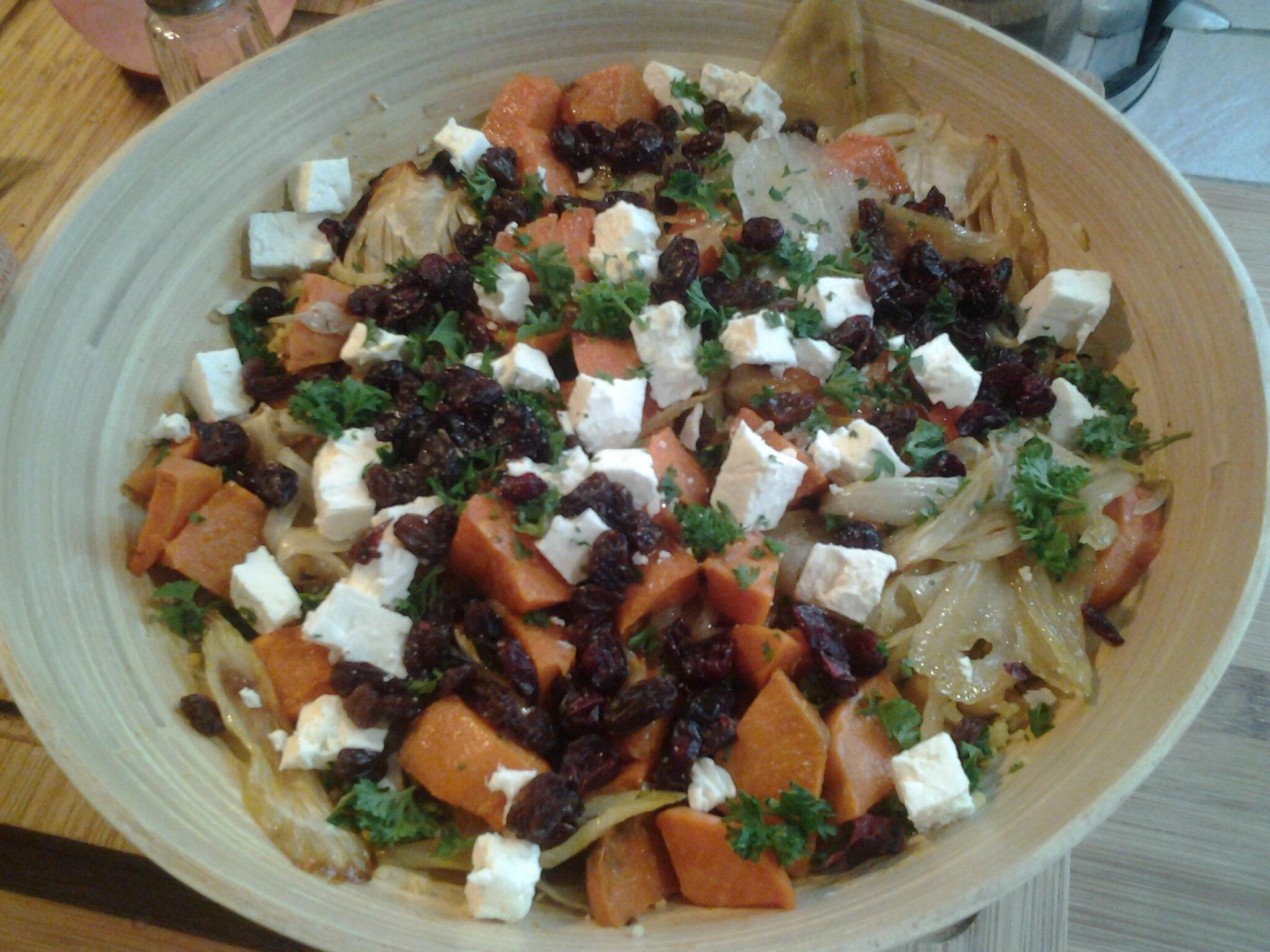 Salade de légumes grillés au boulgour et la fêta