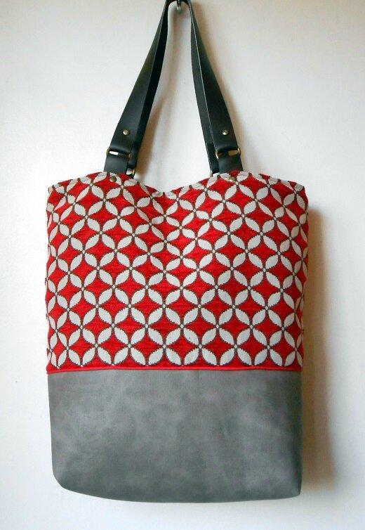 sac cabas fleur 4 feuilles rouge