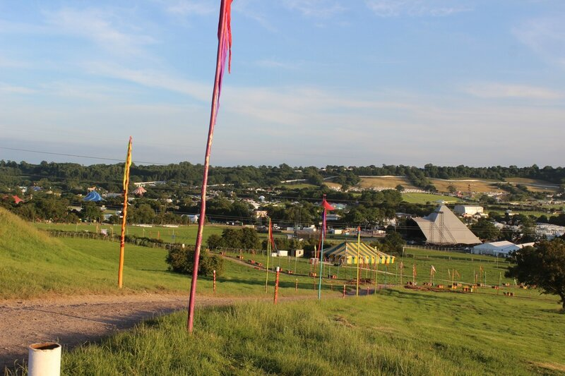 Glastonbury festival 2014 Pilton before openning gates Pyramid stage