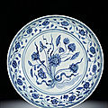 A rare large blue and white 'lotus bouquet' dish, ming dynasty, yongle period (1403-1425)