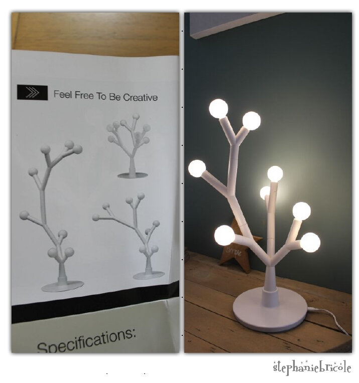 compo lampe led arbre diy
