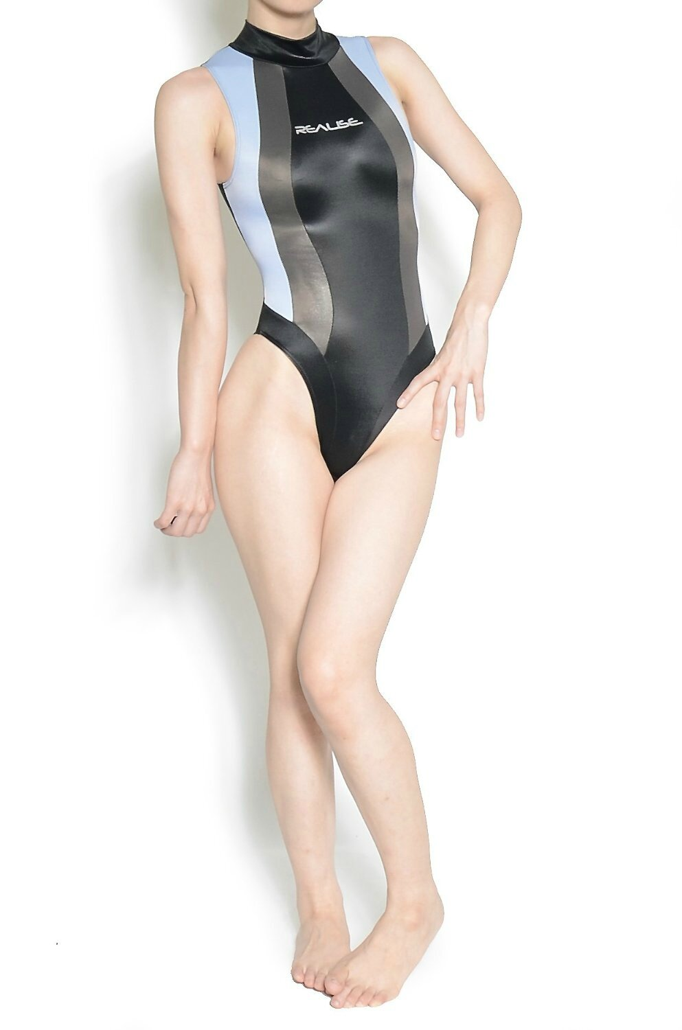 Maillot N-037 Shiny Black/grey/blue UltraThin by Realise