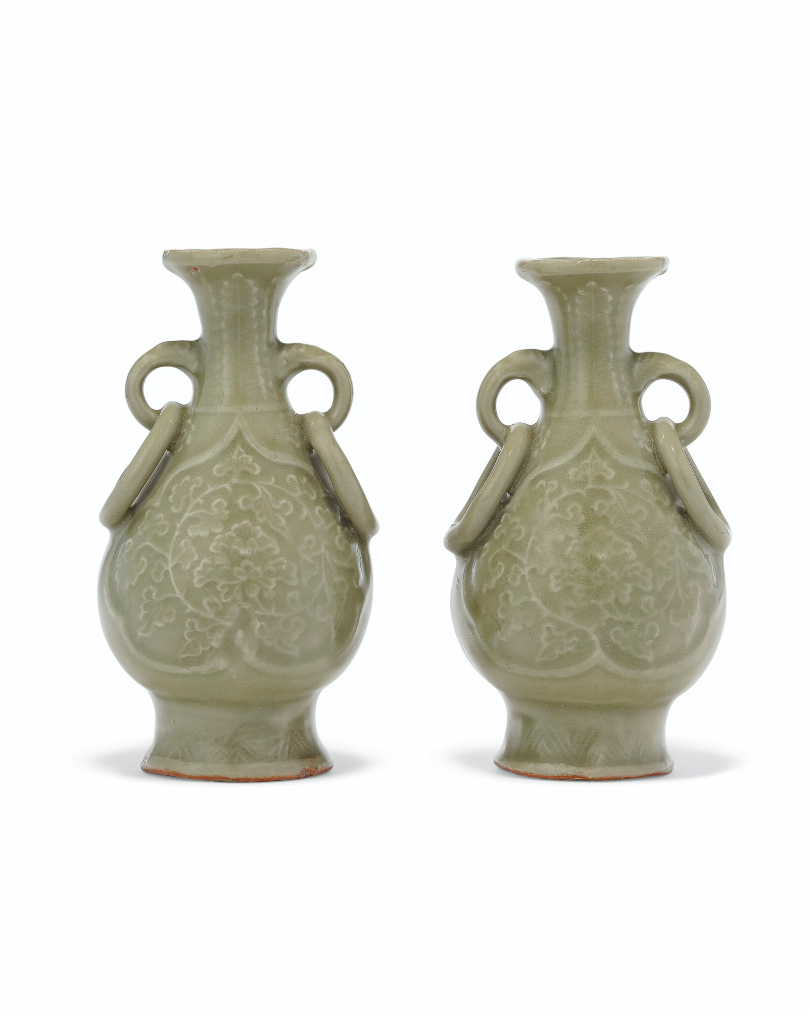 A pair of small molded Longquan celadon pear-shaped vases,Yuan-Ming dynasty (1279-1644)