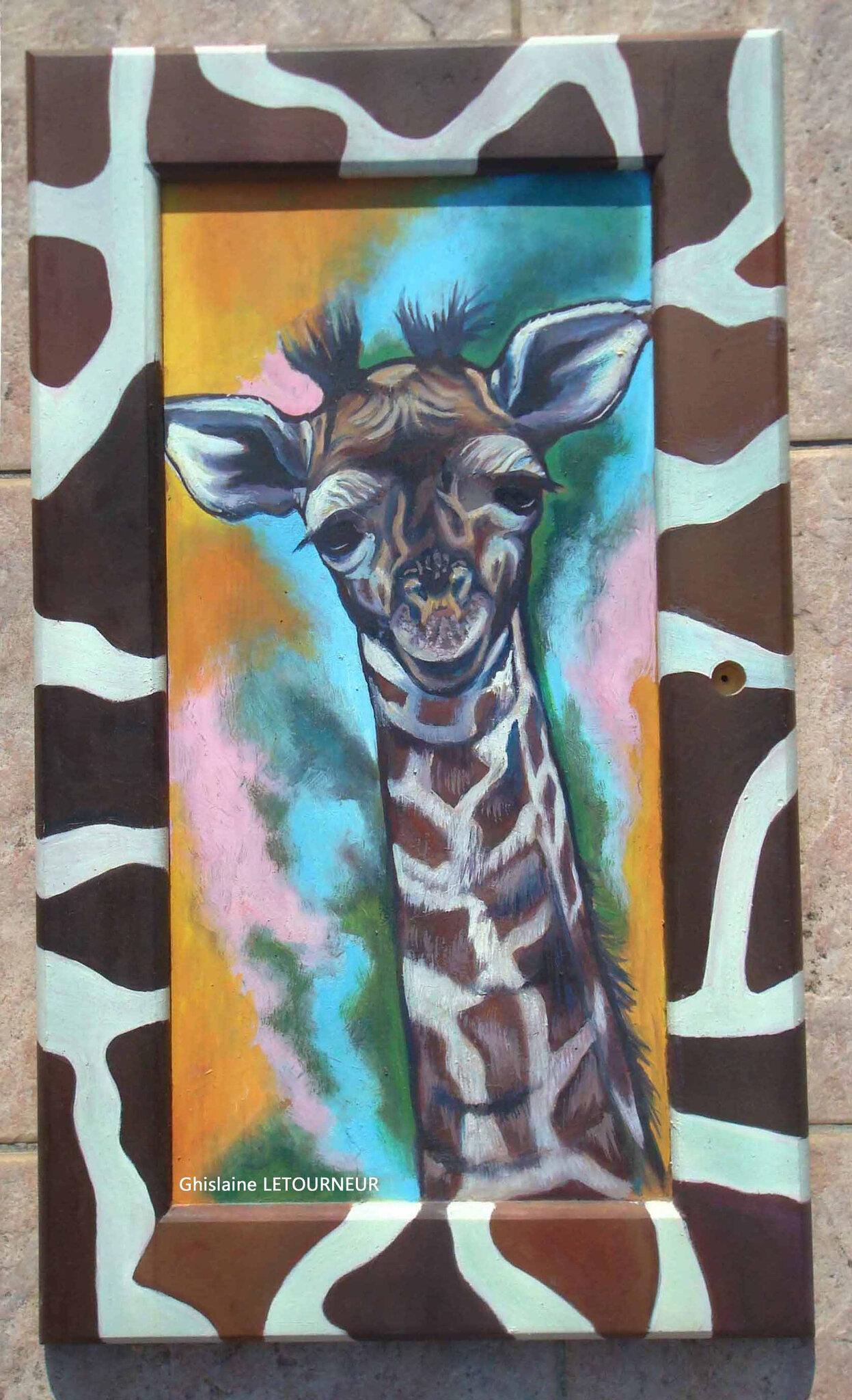 Peinture à l'huile sur bois - girafon sur porte de placard - Ghislaine Letourneur BD
