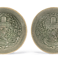 A rare pair of small molded yaozhou conical bowls, northern song-jin dynasty, 12th-13th century