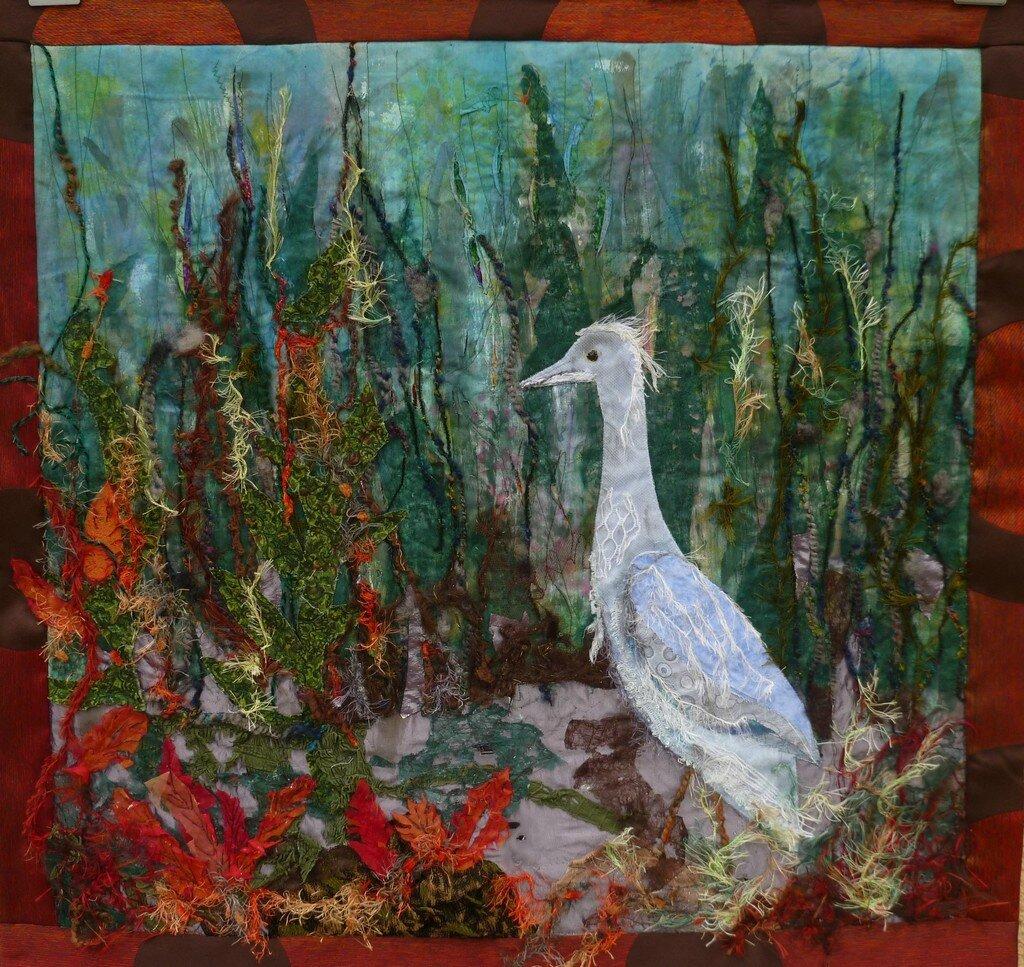 L'oiseau dans le marais - format 84 x 81 cm