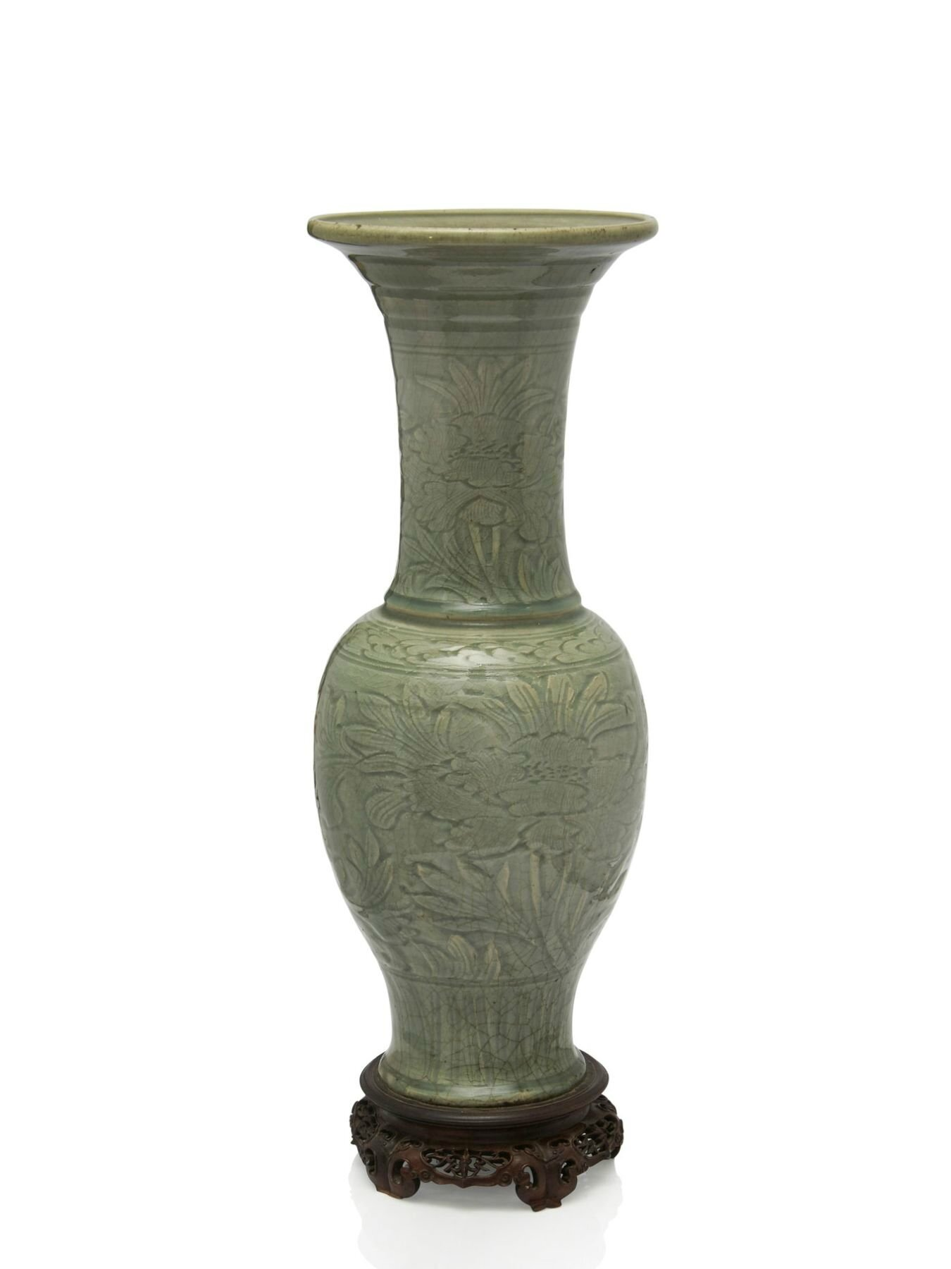 A large Longquan celadon glazed yenyen vase, China, Ming dynasty, 15th-16th century