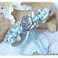 Jarretière de mariée en satin gris perle et bleu ciel