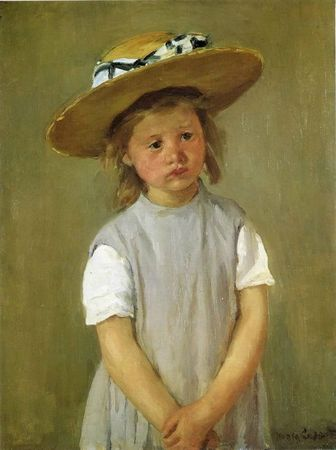 Cassat Mary little-girl-in-a-big-straw-hat-and-a-pinafore