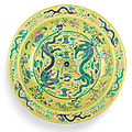 A massive yellow-ground green and aubergine-enamelled 'dragon' dish, chuxiugong seal mark, qing dynasty, guangxu period