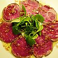Seared beef carpaccio with ginger and soy dressing - carpaccio de boeuf saisi et sauce soja/gingembre