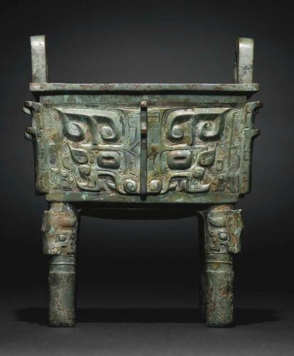A Rare and Magnificent Archaic Bronze Wine Vessel, Fangding, Late Shang-Early Western Zhou Dynasty2