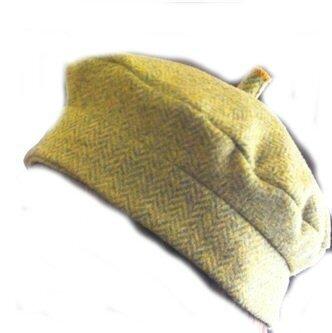 Béret SIMONE en lainage à chevrons vert pistache (4)